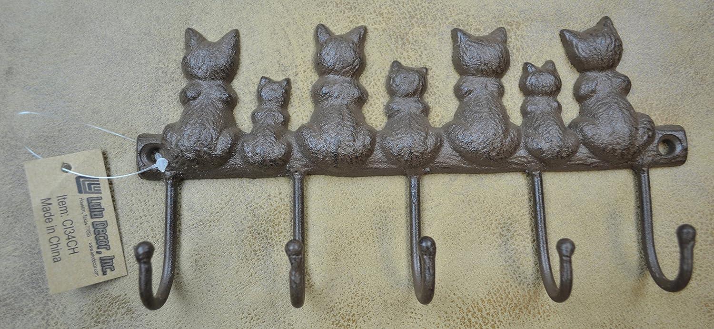 Lulu Decor Cast Iron Seven Cat Key Hooks Vintage Brown Home Kitchen