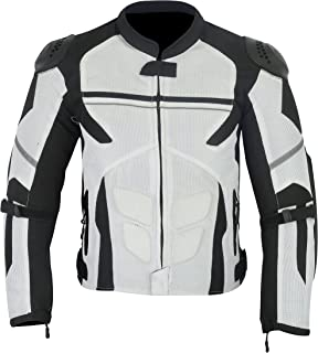 MENS MOTORCYCLE ARMORED HIGH PROTECTION WITH EXTERNAL ARMOR MESH WATERPROOF ALL WEATHERS JACKET WHITE/BLACK MJ-1701 (L/XL)