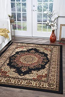 Fiona Traditional Oriental Black Rectangle Area Rug, 8' x 10'