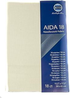 RTO Aida 18-Count-Gewebe, 100% Baumwolle, elfenbeinfarben, 49 x 45 cm