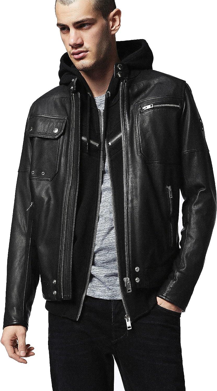 Mens leather jacket Motorcycle Bomber Black Real Leather Hoodie Jacket Men