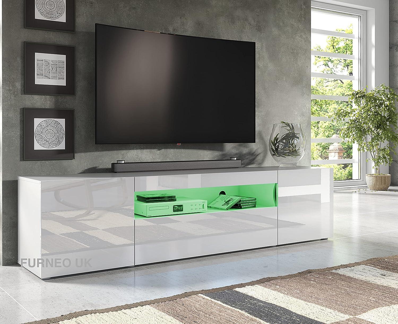 Furneo 10cm Long TV Stand Unit Cabinet Matt & High Gloss White Clifton10  Blue LED Lights