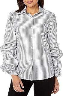 Amazon Brand - Lark & Ro Women's Woven Shirt with Pintucked Sleeve
