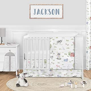 Sweet Jojo Designs Farm Animals Baby Boy or Girl Nursery Crib Bedding Set - 4 Pieces - Watercolor Farmhouse Lattice Horse ...
