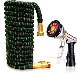 Expandable Garden Hose 50FT Retractable Heavy Duty Compact Lightweight Shrinking Outdoor Lawn Waterhose No Kink Expanding 50 FT Car Wash 3/4 Watering Hose