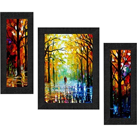 SAF Set of 3 Walking Couple in Forest Watercolor UV Coated Home Decorative Gift Item Framed Painting 13.5 inch X 22.5 inch SANFSAA9201