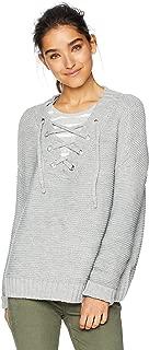 Women's Hey Ms Carter Rib Stitch Lace-Front Sweater