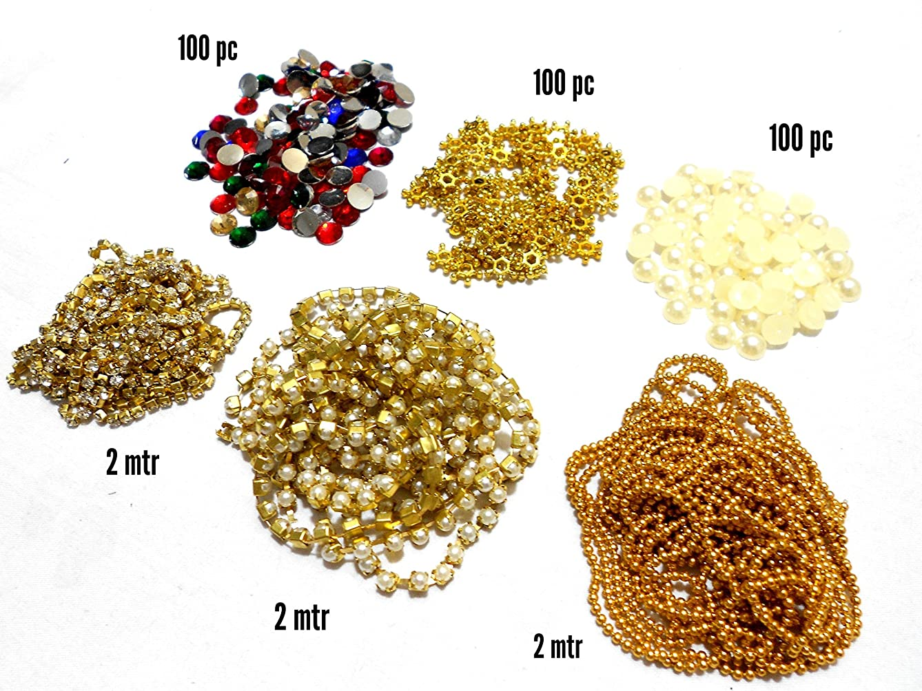 GOELX Jewellery Making & Decorating 6 Items Combo Set Includes Chains(3 Types), Pearls, Colourful Kundans, Daisy Star Chakri 100 Pcs
