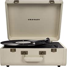 Crosley Portfolio Vintage 3-Speed Bluetooth Suitcase Turntable with Built-in Speakers, Crème