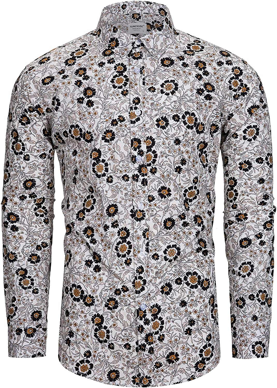 TUNEVUSE Mens Branded Oklahoma City Mall goods 100% Cotton Floral Print Long Shirt Flower Sleeve