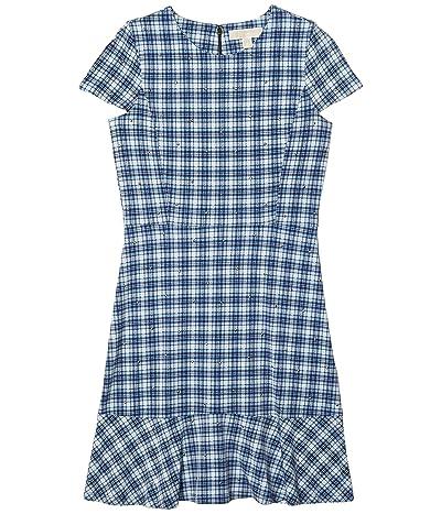 MICHAEL Michael Kors Glam Plaid Print Stud Flounce Dress (Chambray) Women