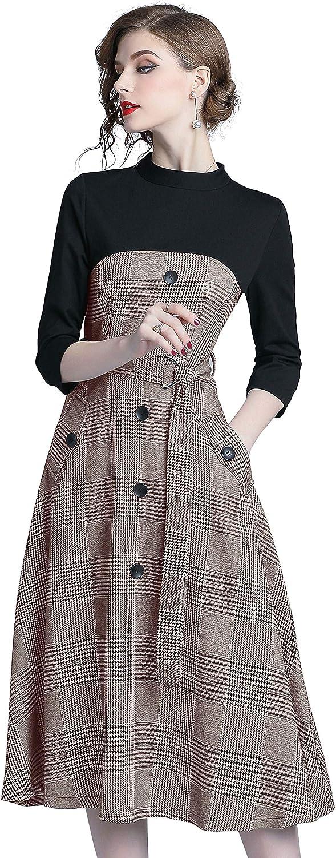 Women's Summer Retro Elegant 2 in Casual Max 87% OFF Midi Max 64% OFF Patchwork Dress 1