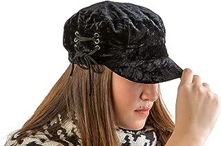 August Hat Co Crushed Velvet Lace-Up Accented Lieutenant Cap