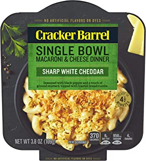 Cracker Barrel Sharp White Cheddar Macaroni & Cheese Single Bowl Dinner (3.8 oz Bowls, Pack of 6)