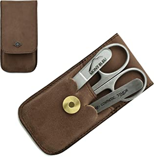Giesen & Forsthoff's Timor 3-piece Manicure Set with crystal nail file, in Natural Oiled Leather Case with Vintage look | Premium Manicure Set
