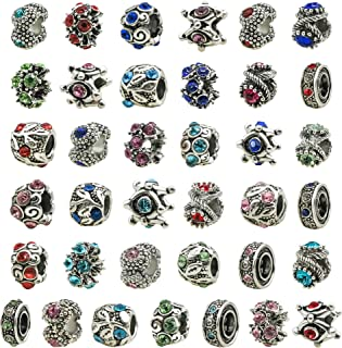 TOAOB 30pcs Assorted Antique Silver Rhinestone European Lampwork Beads Large Hole Spacer Beads Charms Supplies for Bracelet Necklace Jewelry Making