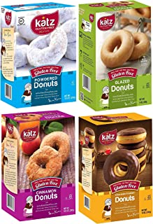 Katz Gluten Free Snacks Top 4 Donut Flavors | Gluten Free, Dairy Free, Soy Free, Nut Free | Powdered, Glazed, Cinnamon, Chocolate Frosted | Kosher (1 Pack of each, 4 Total)