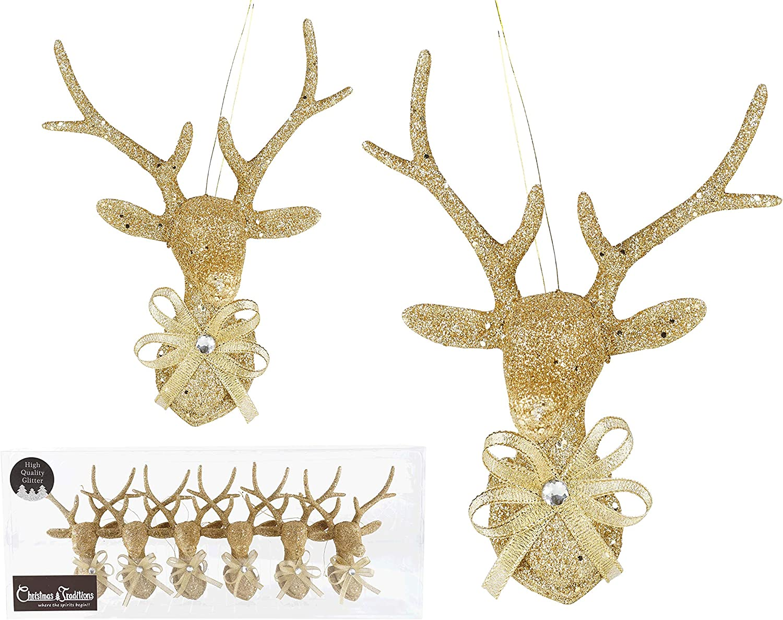 Christmas Tree Wreath Decorative Glitter Sparkle Ornaments Gold Dove Bird