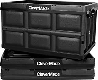CleverMade 46L Collapsible Storage Bins - Durable Folding Plastic Stackable Utility Crates, Solid Wall CleverCrates, 3 Pack, Black