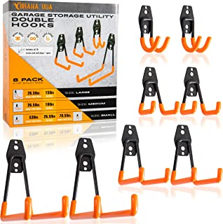 Braha USA Heavy Duty Storage Utility Double Hooks, For Organized Garage and Home Storage, Hang Bicycles, Power Tools, Ladders, and More! Set of 8 Pack Hooks Varying 4 Different Sizes