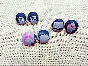 Bob's Burgers Fabric Button Earrings -Tina, Louise, Linda Belcher