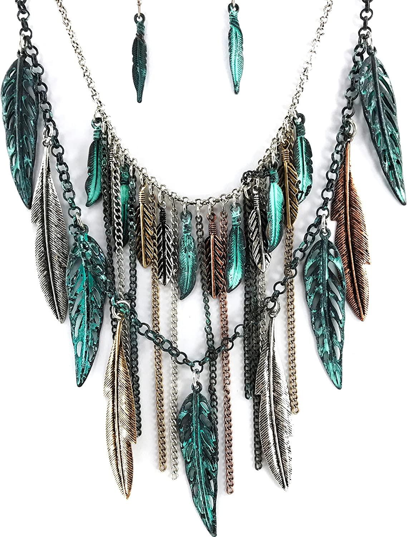 Western Peak Bohemian Tritone Tassels Metal Feathers Necklace with Earrings