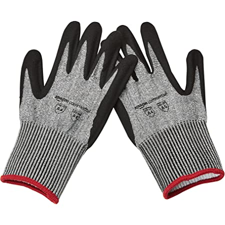 AmazonCommercial 13G HPPE Cut Resistant Liner & Nitrile Gloves (Salt & Pepper/Black), Size S, 3 Pairs