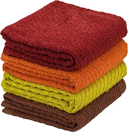 DecorRack 4 Pack Large Kitchen Towels,  100% Cotton,  15 x 25 Inch Absorbent Dish Drying Cloth,  Perfect for Kitchen,  Hand Towels,  Assorted Colors (Set of 4)