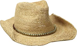 Women's Sierra Crochet Raffia Sun Hat with Gold Shimmer, Rated UPF 30 for Sun Protection