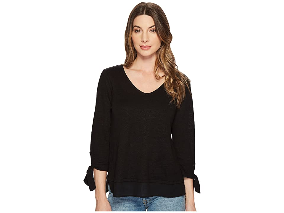 Sanctuary Sylvie Tie Sleeve Tee (Black) Women's T Shirt