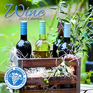 2020 Wall Calendar - Wine Calendar, 12 x 12 Inch Monthly View, 16-Month, Drinks and Beverages Theme, Includes 180 Reminder Stickers