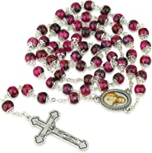 Marina Meiri Hand Painted Ruby Glass Necklace Rosary, Sacred Heart Center, Silver Plate Chain, Crucifix