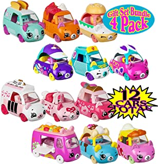 CUTIE CARS Shopkins 3 Pack Collections Featuring Pretty Performers, Speedy Style, Breakfast Beeps & Dessert Drivers Gift Set Bundle - 4 Pack (12 Total)