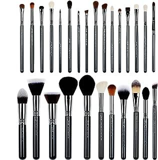 Jessup 27 pcs Pro Set Makeup Brushes Professional Foundation Eye Shadow Lipstick Face Power Liquid Cream Fiber Hair Handmade Brush Tools Black/Silver T133