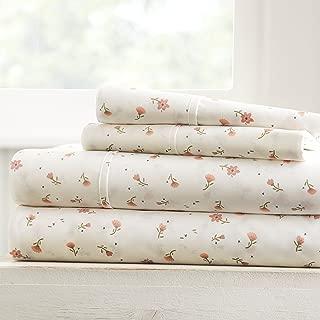 Becky Cameron Soft Floral Patterned 4 Piece Sheet Set - Full - Pink