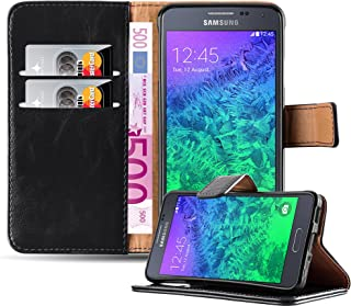 eecb38f38d3 Cadorabo Funda Libro para Samsung Galaxy Alpha en Negro Grafito – Cubierta  Proteccíon con Cierre Magnético