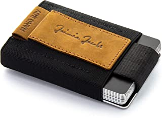 JAIMIE JACOBS Mini Wallet Nano Boy Minimalistic Slim Wallet Thin Credit Card Holder Men (Buffalo Leather Light Brown)