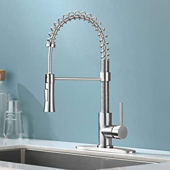 KINGO HOME Lead Free Commercial Farmhouse Pull Down Sprayer Brushed Nickel Stainless Steel Single Lever Handle Spring Kitchen Faucet, Kitchen Sink Faucet with Deck Plate