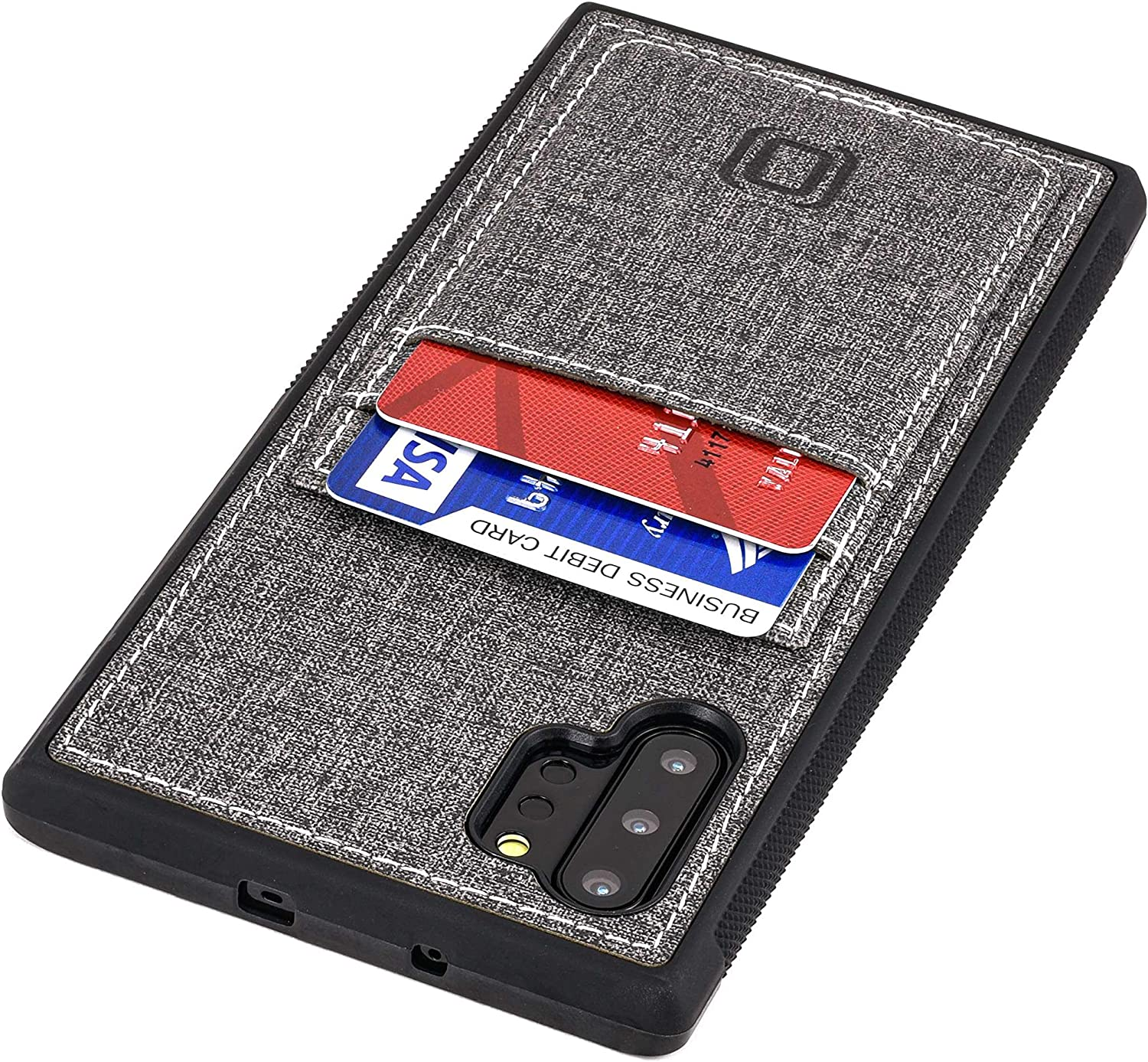 Dockem Luxe M2T Samsung Galaxy Note 10 Plus Wallet Case: Slim TPU with Canvas Synthetic Leather: Card Case with Integrated Metal Plate for Magnetic Mounting