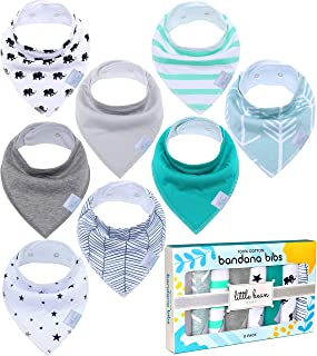 Little Bean Baby Bandana Drool Bibs (8 Pack) - Extra Soft, 100% Cotton and Fleece - Super Absorbent Baby Bandana Bibs - Perfect Teething Bibs - Bandana Bibs for Boys, Girls