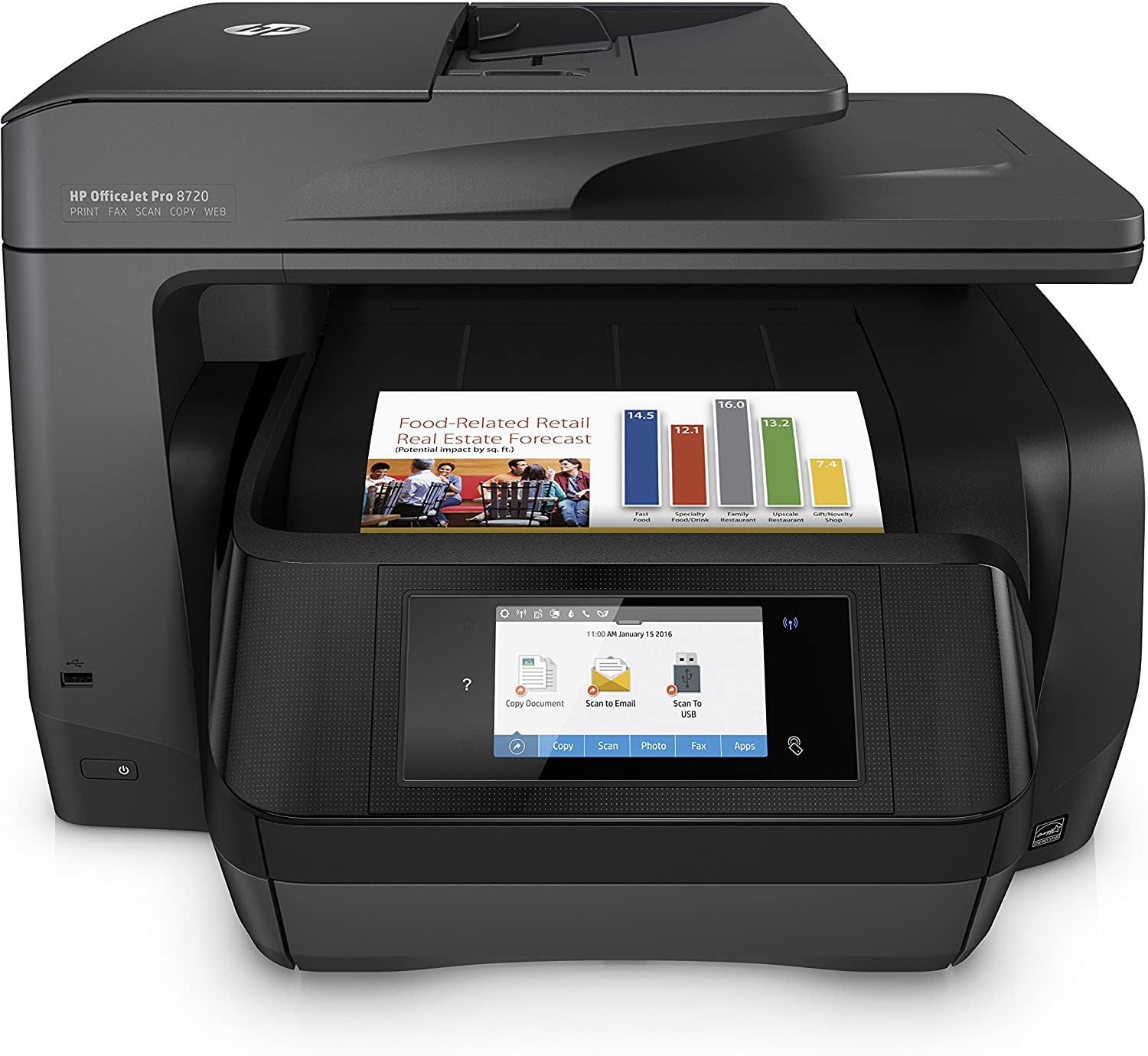 HP OfficeJet Pro 8720 All-in-One Wireless Printer, HP Instant Ink or Amazon Dash replenishment ready - Black (M9L74A)