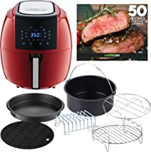 GoWISE USA 8-in-1 Digital XL GWAC22005 5.8-Quart Air Fryer with Accessories, 6 Pcs, and 8 Cooking Presets+ 50 Recipes (Chili Red), QT