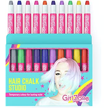 GirlZone Hair Chalk Set For Girls, 10 Piece Temporary Hair Chalks Color, Great as Face Paints too, Birthday Gifts For Girls
