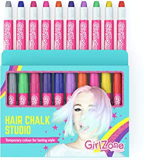 GirlZone: Hair Chalk Set For Girls, 10 Piece Temporary Hair Chalks Color, Great as Face Paints too, Birthday Gifts For Girls