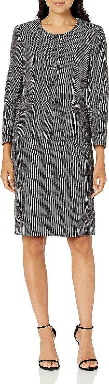 Le Suit Women's Collarless 5 Button Mini Diamond Novelty Seamed Skirt Suit