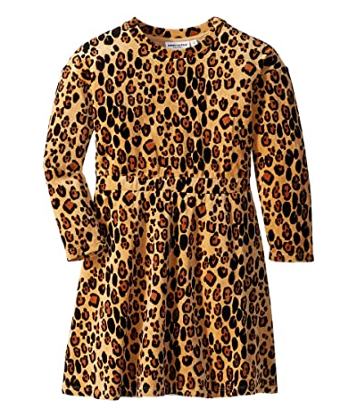 mini rodini Leopard Velour Dress (Infant/Toddler/Little Kids/Big Kids) (Beige) Girl