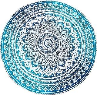 "Jaipur Handloom Round Beach Tapestry Hippie/Boho Mandala Beach Blanket/Indian Cotton Throw Bohemian Round Table Cloth Mandala Decor/Yoga Mat Meditation Picnic Rugs Circle (Turquoise Blue, Round 70"")"
