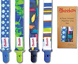 Best Soothie Pacifier Clip Boy by Akeekah   4 Pack   Luxury Eco-Friendly Gift Box   Pacifier Leash & Binkie Clips with Awesome Colorful Designs   Safe BPA Free & Washable Plastic Baby Pacifier Clips   Easy Review