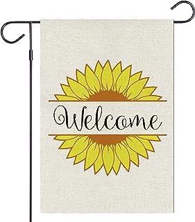 Haustalk Welcome Sunflower Garden Flag Vertical Double Sided Burlap Spring Summer Outdoor Yard Outdoor Decor 12.5 x 18 Inc...