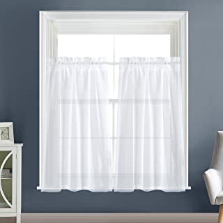 Dreaming Casa Solid Sheer Curtains for Living Room, Rod Pocket Window Treatment Sheer Panels, White 30
